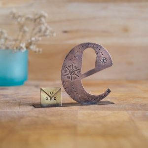 Copper Type - Letter E with a Envelope Embellishment