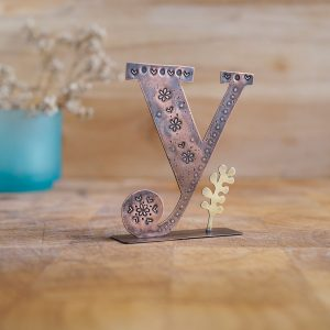 Copper Type - Letter Y with a Yarrow Leaf Embellishment