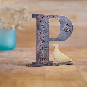 Copper Type - Letter P with a Pigeon Embellishment