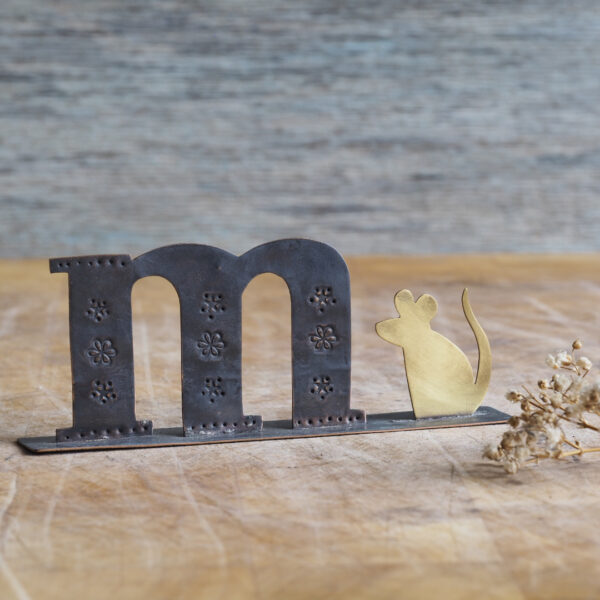 Handcrafted Copper Type - M is for Mouse