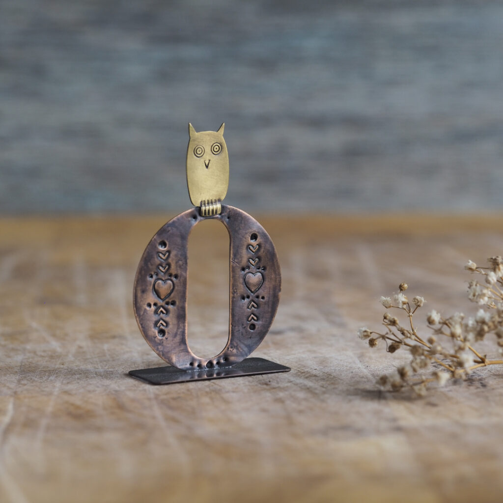 Handcrafted Copper Type - O is for Owl