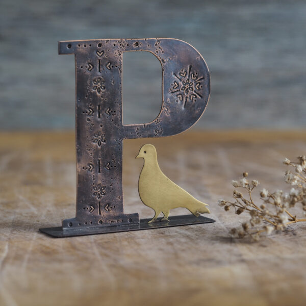Handcrafted Copper Type - P is for Pigeon