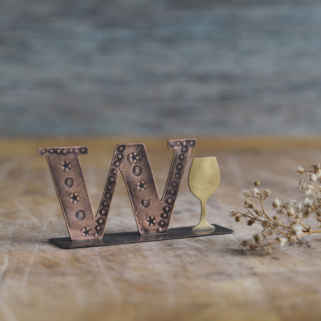 Handcrafted Copper Type - W is for Wine