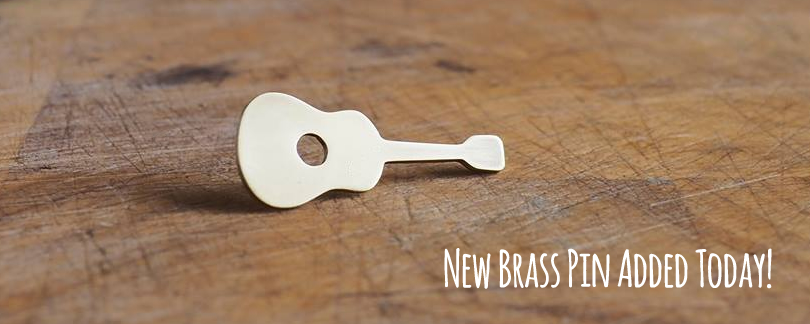 Top Brass Lapel Pin - Guitar