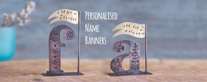 Personalised Name Banner - Made from recycled brass and copper