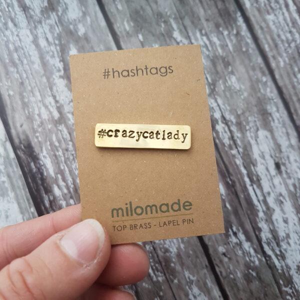 #CrazyCatLady Hashtag Lapel Pin