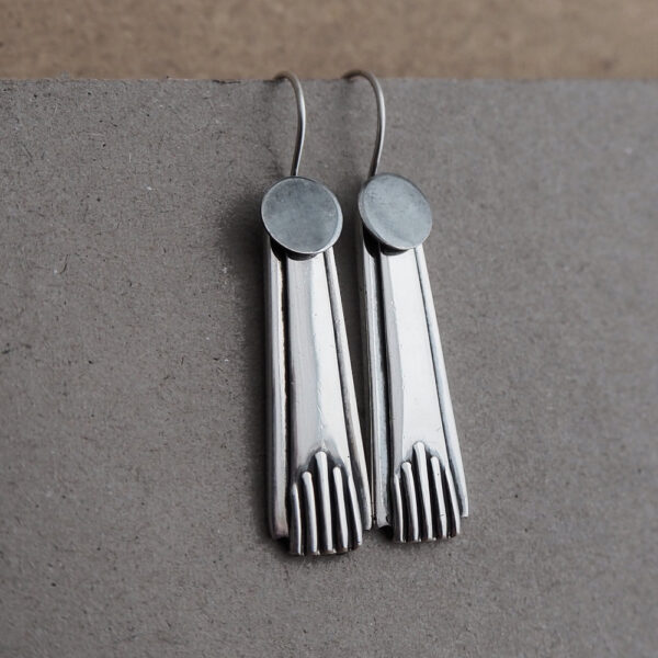 Milomade Spoon Earrings made from a pair of Antique Sterling Silver Teaspoons