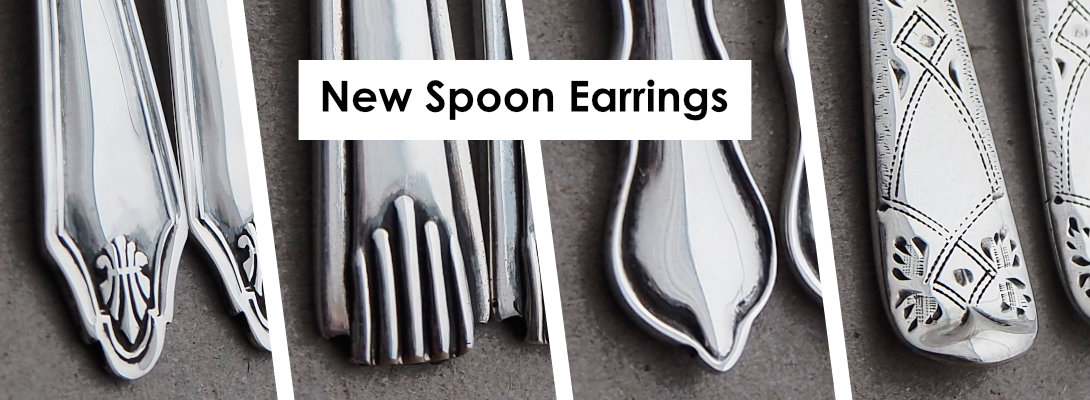 New Spoon Earrings made from the stems of antique silver teaspoons