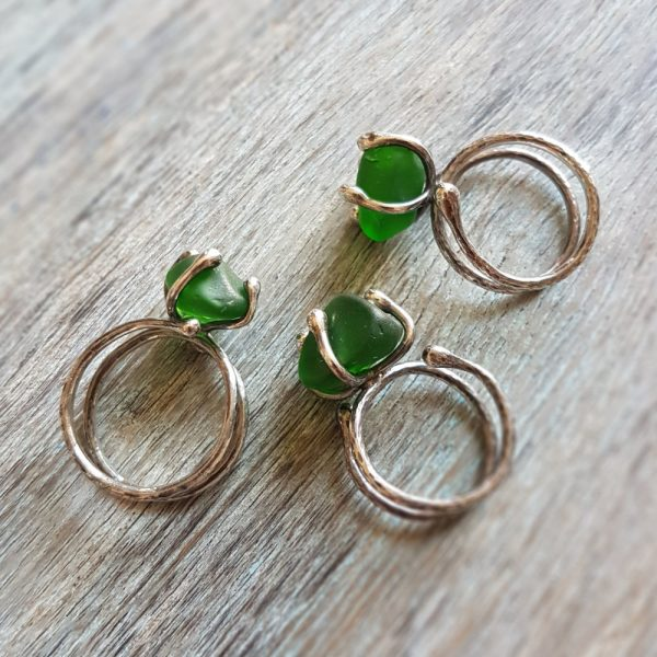 Sea Glass Twist Ring made with green sea glass sourced from the east coast of Scotland #MakerSupportPledge