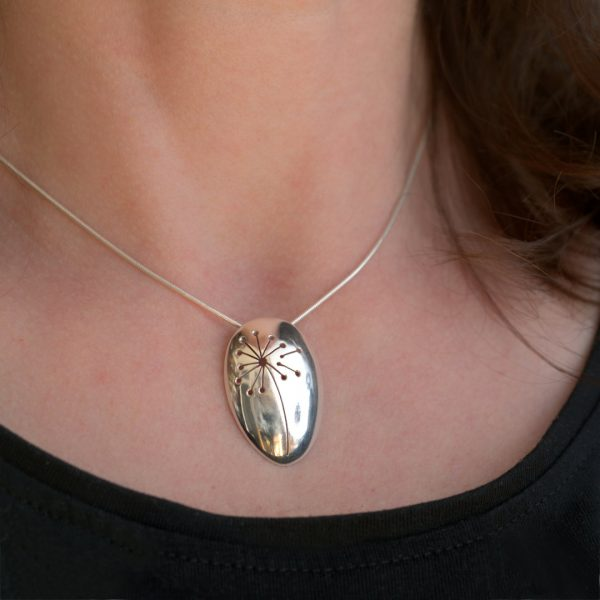 Dandelion Pendant made from a recycled antique sterling silver teaspoon