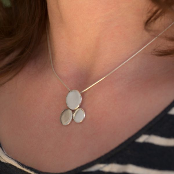 Pebble Pendant made from recycled sterling silver teaspoons