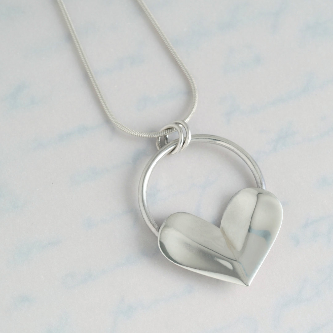 Love Heart Pendant made from recycled sterling silver teaspoons