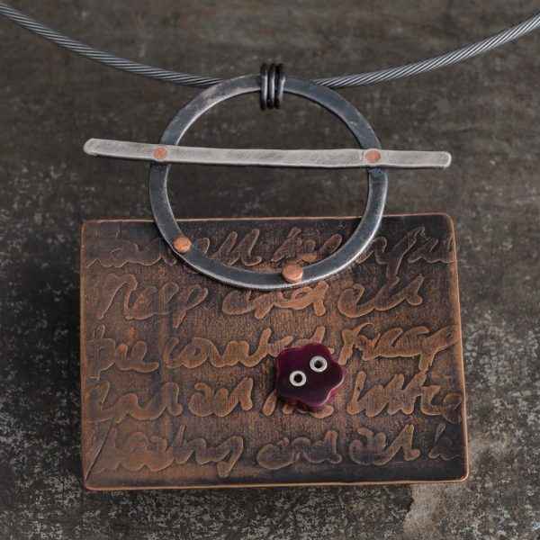 Salvaged statement neckpiece made from recycled copper, silver and a vintage button