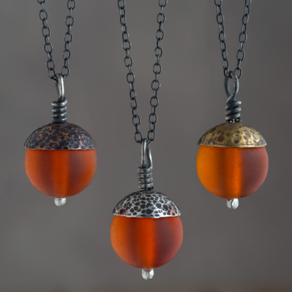 Woodland Collection - Orange Acorn Pendant in Copper, Silver and Brass