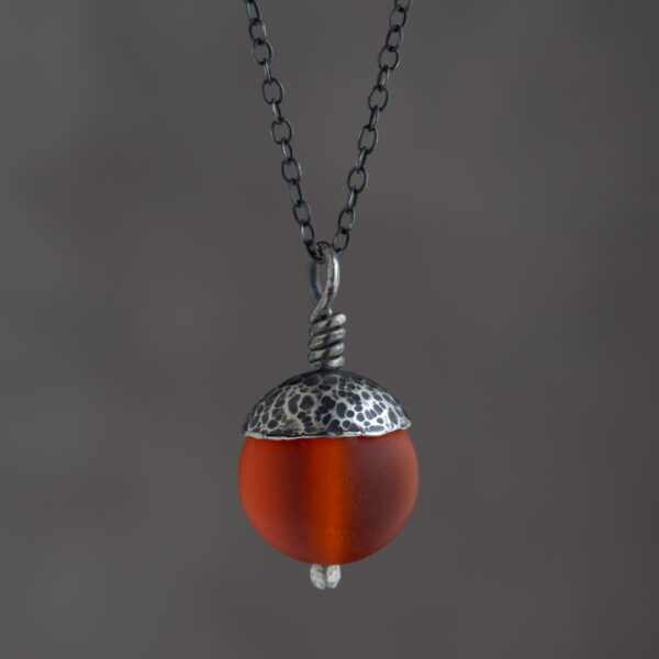 Woodland Collection - Orange Acorn Pendant in Silver