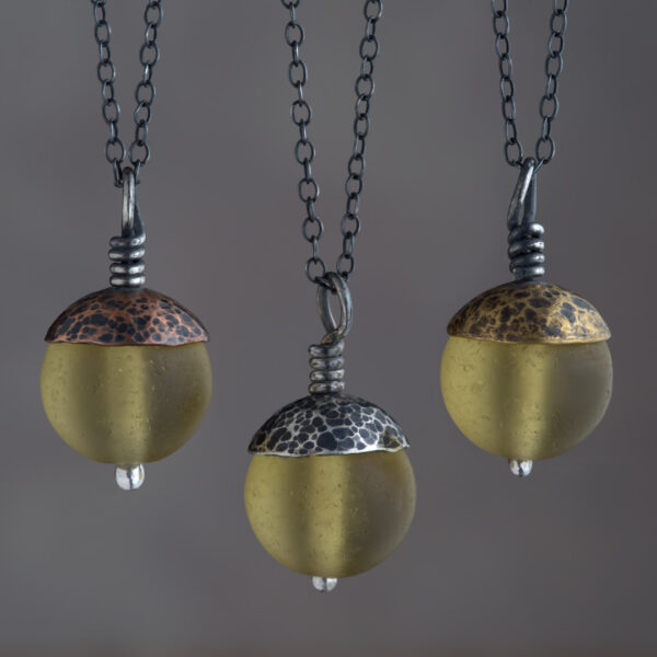 Woodland Collection - Yellow Acorn Pendant in Copper, Silver and Brass