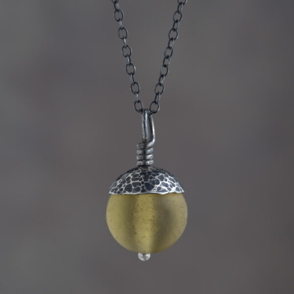 Woodland Collection - Yellow Acorn Pendant in Silver