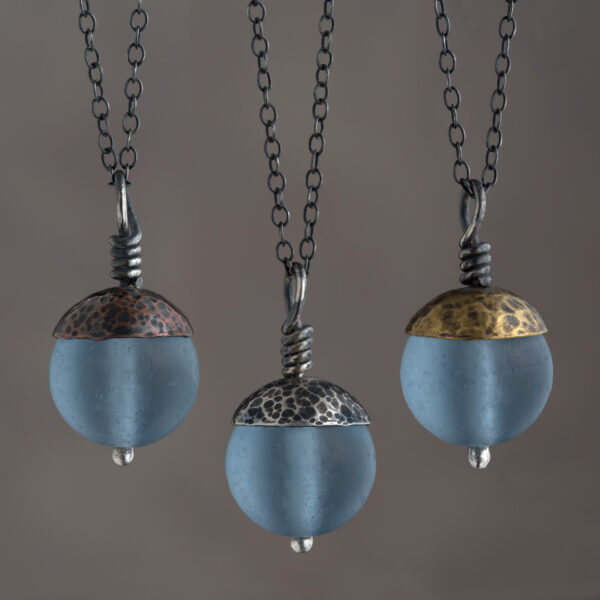 Woodland Collection - Blue Acorn Pendant in Copper, Silver and Brass