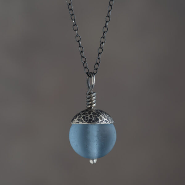 Woodland Collection - Blue Acorn Pendant in Silver
