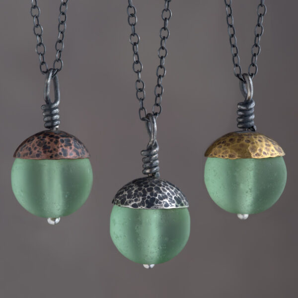 Woodland Collection - Green Acorn Pendant in Copper, Silver and Brass