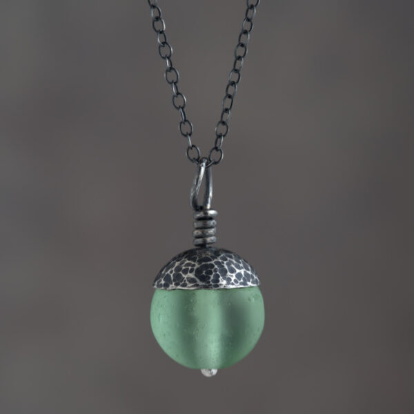 Woodland Collection - Green Acorn Pendant in Silver