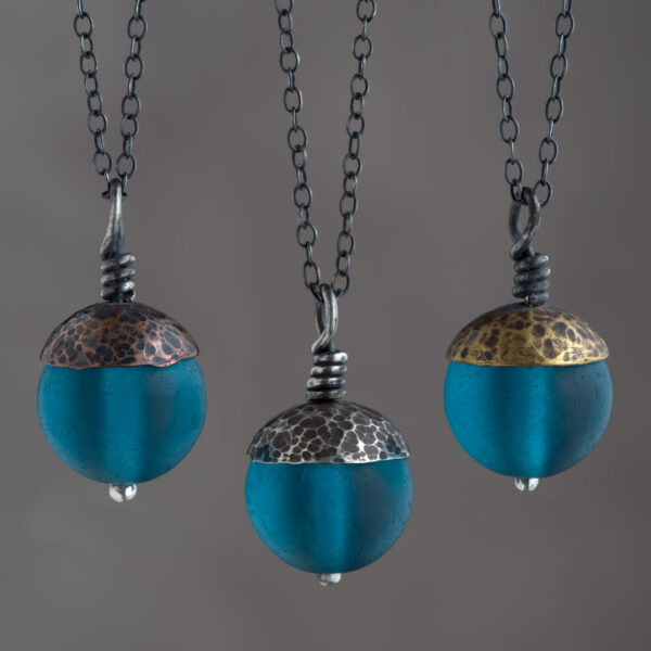Woodland Collection - Teal Acorn Pendant in Copper, Silver and Brass