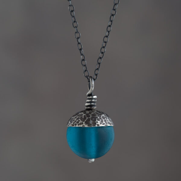 Woodland Collection - Teal Acorn Pendant in Silver