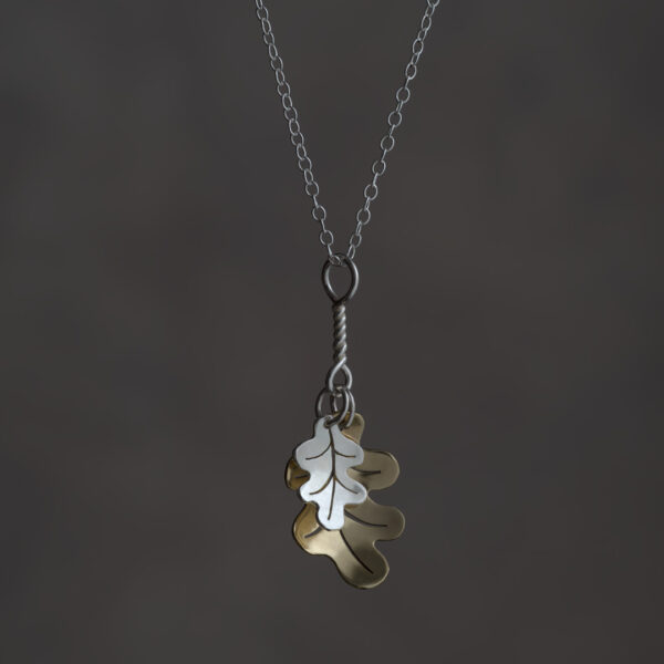 Woodland Collection Oak Leaf Clusters in Silver and Brass