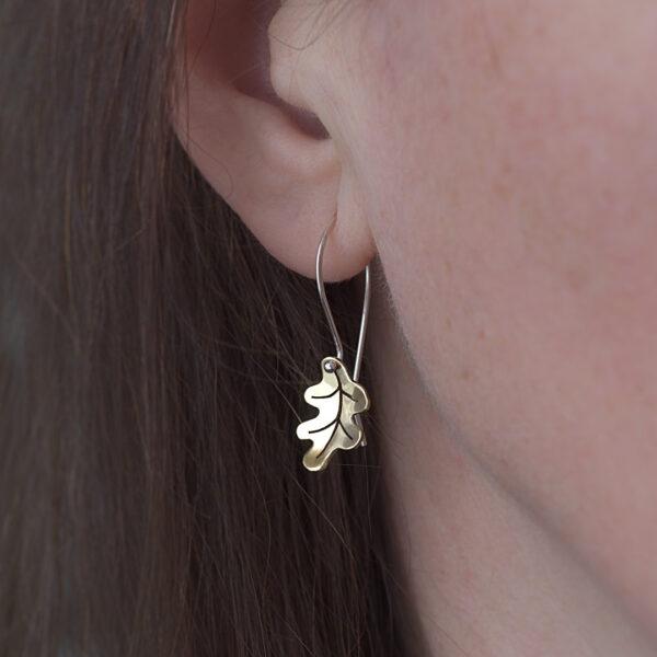 Woodland Collection Oak Leaf Earrings in Brass