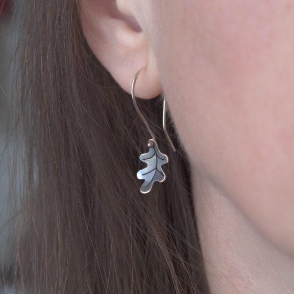 Woodland Collection Oak Leaf Earrings in Oxidised Copper