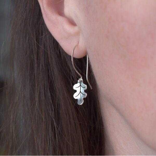 Woodland Collection Oak Leaf Earrings in Silver