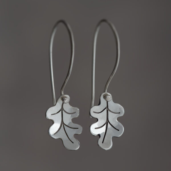 Woodland Collection Oak Leaf Earrings in Silver
