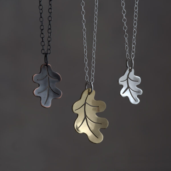 Woodland Collection Oak Leaf Pendants in Silver, Brass and Oxidised Copper