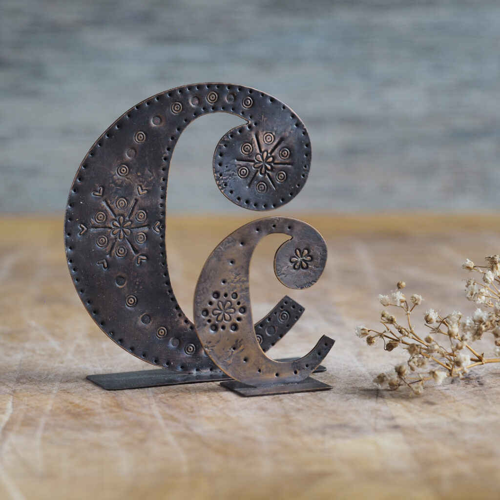 Handcrafted Copper Type - Letter C
