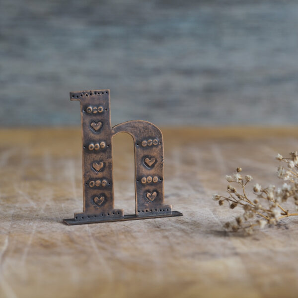 Handcrafted Copper Type - Letter H