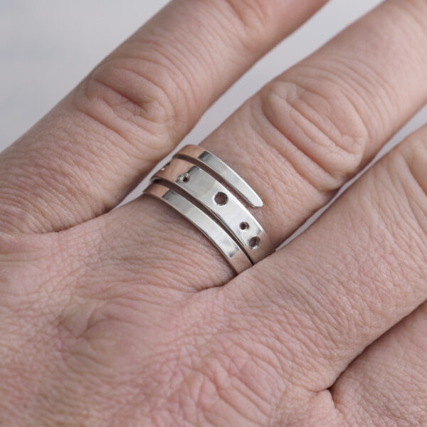 Drilled Wrap Ring made from recycled EcoSilver
