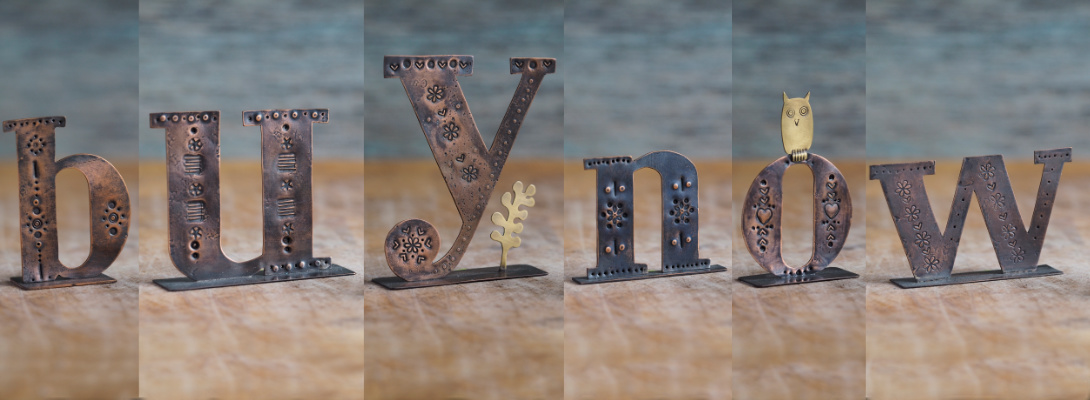 Copper Type spelling out 'Buy Now' as each letter is now half price in my winter sale