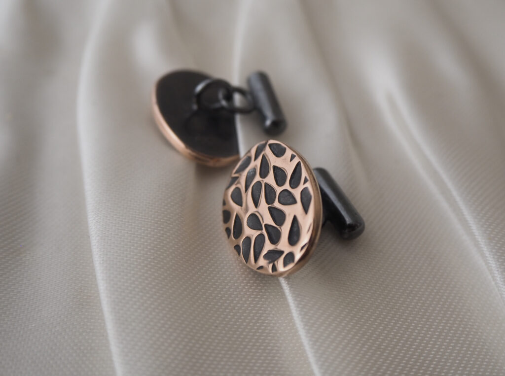 Bespoke Cufflinks made from copper cut from a decommissioned still at Tomintoul Distillery