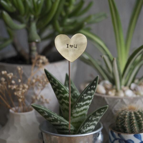 Brass Heart Plant Maker - I Heart U
