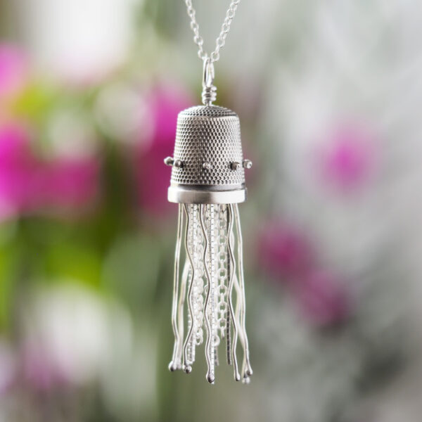 Jellyfish Pendant made from an antique sterling silver thimble